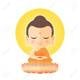 104487632 buddha sitting on lotus cute buddha cartoon vector illustration isolated on white background