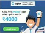 Free Toppr Subscription Offer: Get Free 30 Days Subscription Worth 4000 (Learning app for classes 5th to 12th)