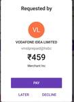 Beware!! Vodafone sending recharge amount request on phone pe