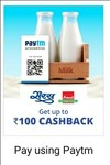 Paytm Scan & Pay : Get Rs Upto 100 Cashback On Saras & Amul Dairy Outlets (Min 20 Each)