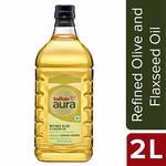 Saffola Aura Refined Olive and Flaxseed Oil, 2L. Apply 50% coupon on first Subscribe and Save order only.