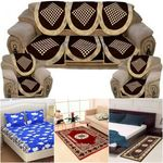 Multicoloured Combo Pack of Bedsheets with Sofa Cover, Carpet & Runner @ Rs 1039