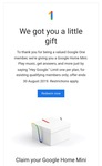 Google offering Google Home mini for Google One Subscribers for free