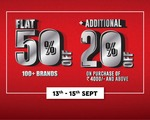 Brand Factory Stores (13-15 Sep) :- Flat 50% off + Extra 20% off on the Purchase Above 4000₹ || Flat 60% off on Selected Brands