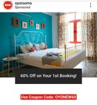 OYO Rooms : Flat 60% OFF On Your First Booking
