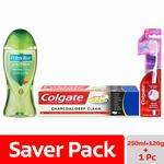 Colgate Tonic Shower Gel with Colgate Total Charcoal Deep Clean Toothpaste