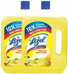 Lizol Disinfectant Surface & Floor Cleaner, Citrus - 2 L (Pack of 2)