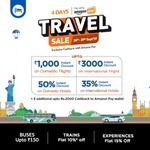 Flat 10%(upto 100 on1st)/8%(upto 75 on repeat)instant discount on train ticket & Flat 15%(upto 400) Instant Discount on Experience deal + additional 5% cashback upto INR 2000 into Amazon Pay