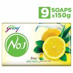 Godrej No.1 Bathing Soap - Lime & Aloe Vera, 150g (Pack of 9)