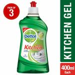 Dettol Germ Protection Kitchen Dish and Slab Gel - 400 ml (Lime Splash, Pack of 3)