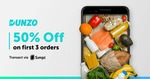 Get 50% Cashback upto 50₹ on your first 3 Simpl transactions ever on Dunzo