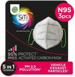 Dettol Anti Pollution Mask N95 Siti Shield Carbon Activated, Pack of 3