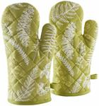 Amazon Brand - Solimo 100% Cotton Padded Oven Gloves, Fern (Pack of 2, Green)