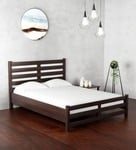 Venus Queen Size Bed with High Headboard in Brown Colour by Mintwud