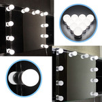 10PCS Hollywood Style Pure White LED Vanity Mirror Light Bulb Kit With Dimmer Controller for Makeup Dressing - EU plug