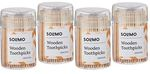 Amazon Brand - Solimo Wooden Toothpicks - 250 Sticks each pack (Pack of 4)