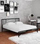 Ursa Metal Queen Size Bed in Black Finish by @home