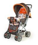 LuvLap Sunshine Stroller/Pram, with Mosquito net, for Newborn Baby/Kids, 0-3 Years (Orange)@2519