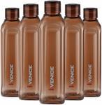 Cello Venice Exclusive Edition Plastic Water Bottle Set, 1 Litre, Set of 5, Brown