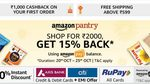 Amazon Pantry 15% cashback on orders above 2000