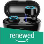 Renewed) PTron Bassbuds True Wireless Earbuds (TWS), Bluetooth 5.0, Hi-Fi Sound, 4 Hours Music Time, 10-Meter Range Earbuds, 50mAh*2 Battery, Portable 250mAh Charging Box, Handsfree Wireless Earphones (Black)