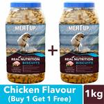 Buy 1 Get 1 Free -- Meat Up Chicken Flavour, Real Chicken Biscuit, Dog Treats -500g Jar.