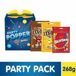 Party Poppers Assorted Chocolates and Candy Gift Pack (M&M's, Skittles)- 268g