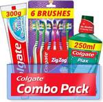 COLGATE ACTIVE SALT 300 GM TOOTH PASTE+ 6 TOOTHBRUSH+ Colgate plax 300ml