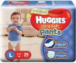 Huggies Ultra Soft Pants Diapers for Boys, Large (Pack of 26) (Apply ₹120 coupon)