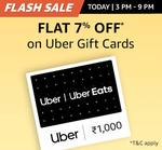 Flash Sale : Flat 7% off on Uber Gift Cards (Valid till 9 PM)