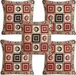 Multitex Geometric Cushions Cover(Pack Of 5, 40 Cm*40 Cm, Multicolor)