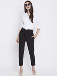 Women Black Regular Fit Solid Peg Trousers