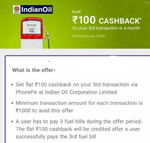 Indian Oil Petrol Pump Rs.100 Cashback on 3 Transaction above Rs.1000 with PhonePe