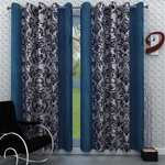 Homely Eyelet Abstract Door Curtain, Set of 2-7 Ft, Blue @ 199
