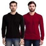 (Pack of 2) MIMODA Mens Hood Full sleeve T-Shirt for men