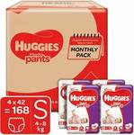 Huggies Wonder Pants Diapers Monthly Pack, Small (168 Count) @ ₹876 (if bought with One Month Subscription)