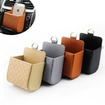 Auto Air Vent Car Storage Bag Multi-functional Faux Leather Phone Bag Ditty Bag Travel bag - Black