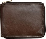 Genuine leather wallet with zipper