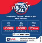 Easemytrip Terrific Tuesday :- Get 10% Discount upto 10000₹ on International Flights & Get 35% Discount upto 8000₹ on International Hotels using Kotak Mahindra Bank Cards