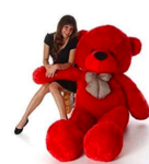 Back In stock: Stuffed Soft Cotton Teddy (Red, 4 Feet)