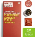 Onlyleaf Turmeric Ginger Tulsi Green Tea, 27 Tea Bags (25 Tea Bags + 2 Free Exotic Samples)