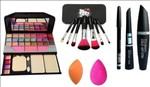 MYN 6155 Makeup Kit Mini Laptop Eye Shadow Brush Set Black Eyeliner Kajal Mascara 2 Puff