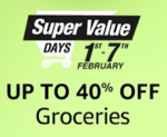 (Last day) Amazon Super Value Days 1-3 Feb :- Get 10% instant Discount upto 400₹ on Amazon's Super Value Day Store or Pantry Store on Payment above 2500₹ using SBI Credit Cards