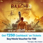 Paytm - Purchase Movie Pass at Rs.99 & Get 100% Cashback up to Rs. 250 on Baaghi 3 movie Tickets