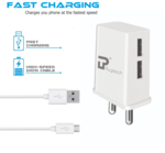 Dual Port Wall charger with cable @112/-FS