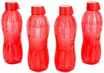 Signoraware Aqua Fresh Plastic Water Bottle, 500ml, Set of 4, Deep Red