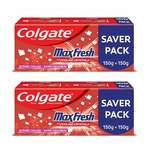 Colgate MaxFresh with Cooling Crystals Toothpaste Gel, Spicy Fresh - 300gm (Pack of 2)