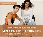 KOOVS: Min 40% off + Extra 40% Off On Mens And Woman Apparels