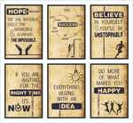Hope, Success, Believe, Time, Idea, Happy Inspirational Posters (Paper, 12x18-inch, Brown) - Set of 6 @ 179/-