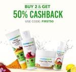 Mamaearth Buy 2 & Get Flat 50% Cashback + Free Vitamin c Toner On Order Above 499